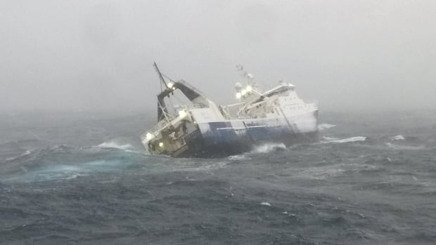 The F/V Saputi taking on water in the Davis Strait in February. The Danish Navy escorted the damaged ship and crew of 30 to Nuuk, Greenland.