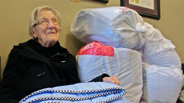 Helen Hiebert, who is 90, donated 10 hand made blankets to Siloam Mission on Tuesday.  Siloam posted this picture, along with information about the donation, on its Facebook page and it's been viewed over 125,000 times.