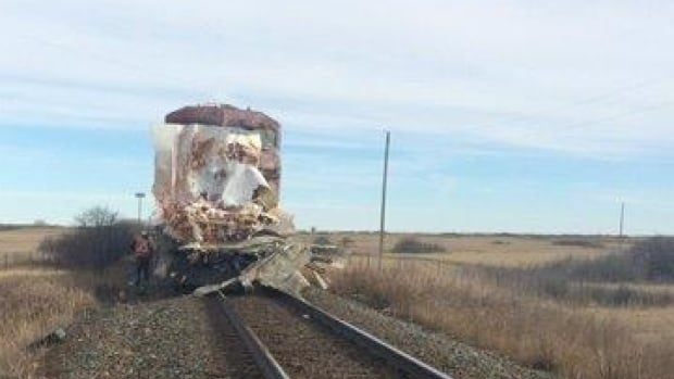 No one was hurt in a crash between a train and a semi-trailer near Highway 901 near Gleichen.