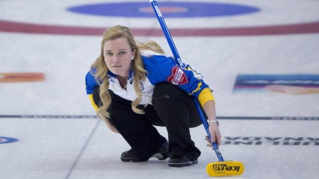 Albera skip Chelsea Carey watches her shot during the 12th draw against Manitoba at the Scotties Tournament of Hearts in Grande Prairie, Alta. Wednesday, Feb. 24, 2016.