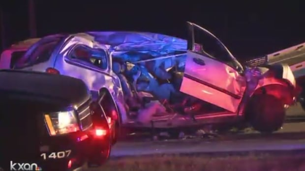 Police have issued arrest warrants for the man they believe responsible for a fatal accident that killed a Kitchener family, who were travelling in this minivan on the I-35 near Austin, TX, Friday morning.
