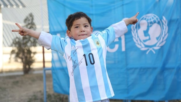 On Feb. 25, the United Nations Children's Emergency Fund posted new photos of Murtaza Ahmadi with an actual Lionel Messi soccer jersey, instead of the pieces of plastic tied together.
