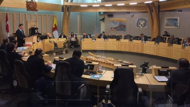 Nunavut Finance Minister Keith Peterson delivers his budget address at the legislative assembly Thursday.