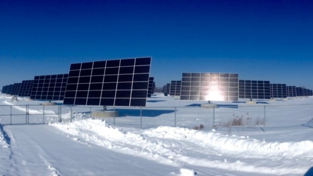 Solar farm near Essex, ON, winter