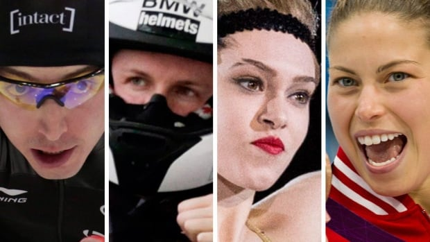 Speed skater Alex Boisvert-Lacroix, bobsleigh pilot Justin Kripps, figure skater Alaine Chartrand and diver Roseline Filion, left to right, are featured in this weekend's Road to the Olympic Games on CBC television and cbcsports.ca.