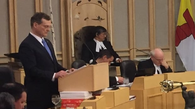 Nunavut Finance Minister Keith Peterson delivers the budget address Thursday afternoon at the legislature.