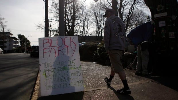 Residents at the homeless camp held a block party, with supporters coming over from Vancouver and Abbotsford during the planned soft eviction day.