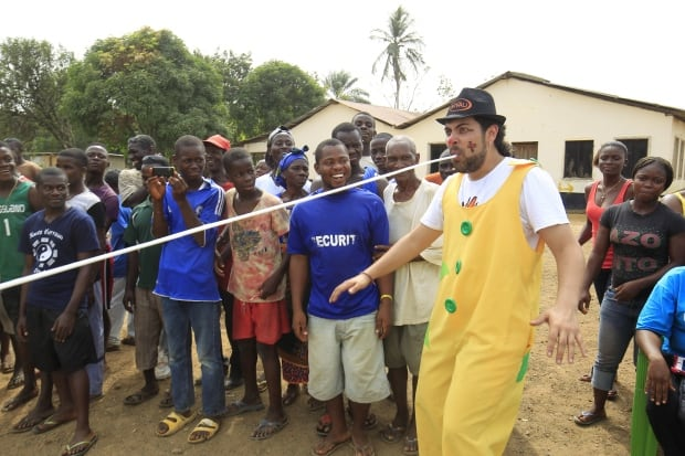 LIBERIA Clowns without Borders artist performs