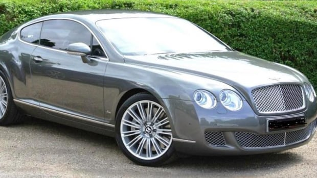 "Four masked males allegedly stole a grey 2010 Bentley with a ""OCEANSKY"" Ontario licence plate during an abduction on Thursday."