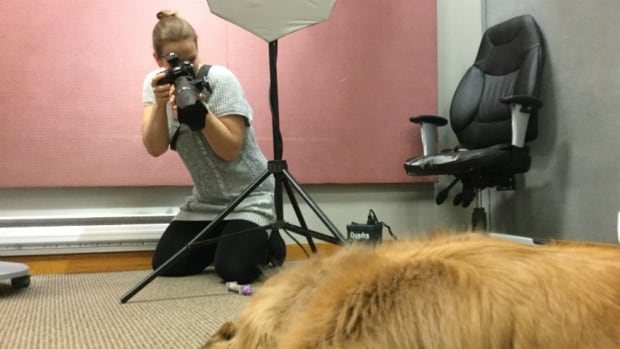 Photographer Buffy Boily takes photos of Oliver, the dog.