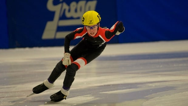 Caius Taggart-Cox skates a tournament in Edmonton last year. Taggart-Cox is one of the Yukon speedskaters who won't be attending this year's Arctic Winter Games, after the sport was cut from the program.