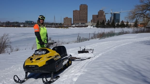 Dave Adams pauses for a photo as he grooms the new Sir John A. Macdonald Winter Trail alongside the Sir John A. Macdonald Parkway last February.