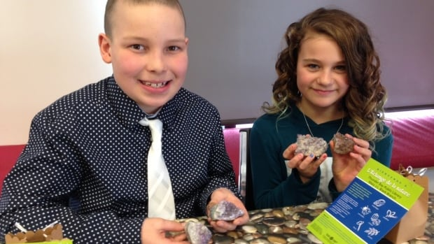 Jacob Pugliese (left) and Rayne Beechard are in grade five at St. Martin School in Thunder Bay, and were trying out Northern Nature Trading for the first time.