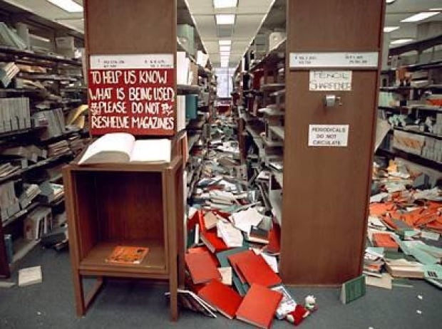 The Evergreen State College Academic Library following the Nisqually earthquake