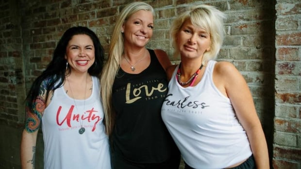 Heidi Smith (centre) shows off some of her work with Addictive Designs. She will be taking her designs to the red carpet at the 2016 Academy Awards.