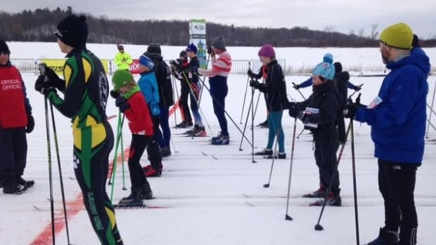 Racers at the start line during the 2016 Gatineau Loppet.