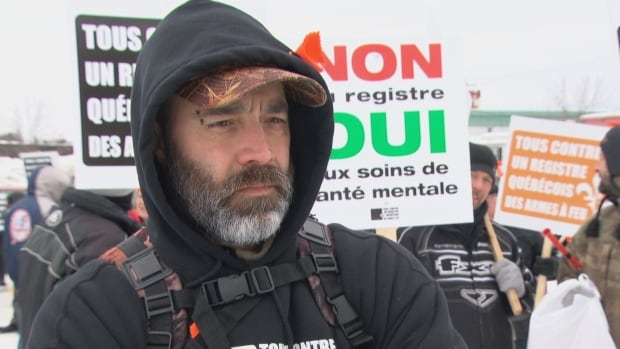 Patrick Rochon was one of dozens of protesters who gathered outside the office of the Quebec minister of justice in Maniwaki to oppose a proposed provincial long-gun registry.