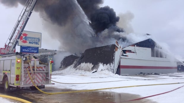 A fire completely destroyed the Four Winds Centre hotel and lounge Saturday in High Level.