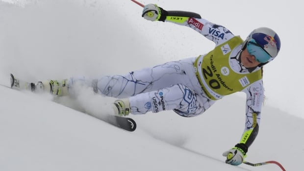 Lindsey Vonn speeds down the course in the combined race, in Soldeu, Andorra, on Sunday, Feb. 28, 2016.