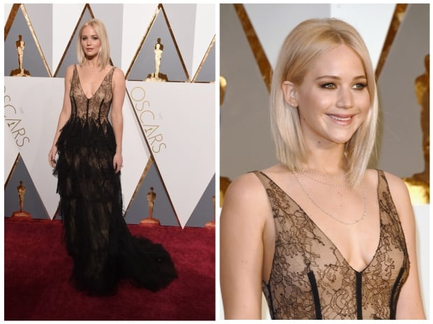 Jennifer Lawrence Oscars 2016 red carpet by Ethan Miller and Jas