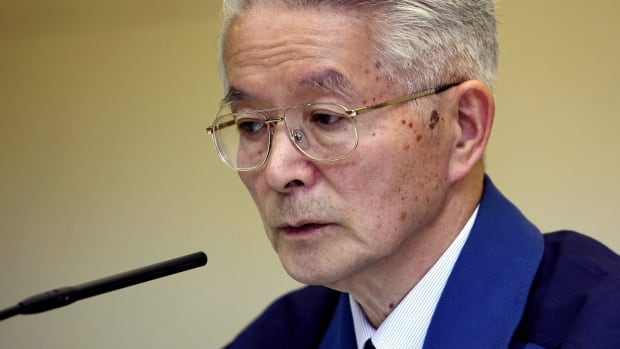 Tsunehisa Katsumata, seen in this April 2011 photo, was the chairman of Tokyo Electric Power Co., at the time of the Fukushima nuclear disaster. Katsumata and two other former executives were indicted Monday on charges of negligence.