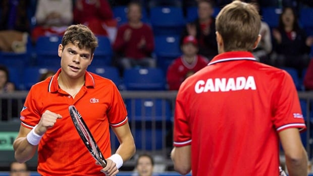 Tennis Canada says Milos Raonic, left, is still recovering from a adductor tear suffered in the semifinals of the Australian Open, while Daniel Nestor, right, will miss the Davis Cup against France due to an undisclosed family matter.