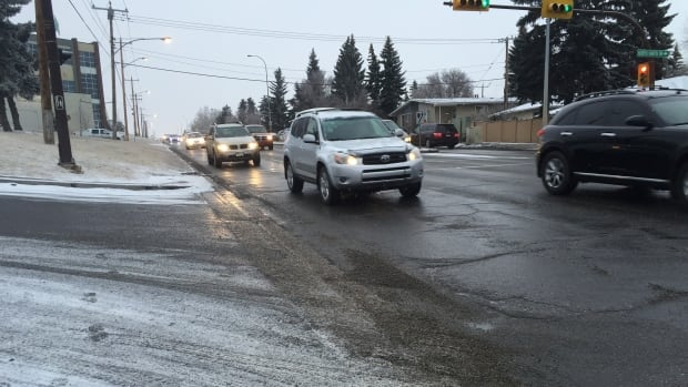 Commuters in northwest Calgary brave the icy roads and chilly temperatures on their morning commute Monday.