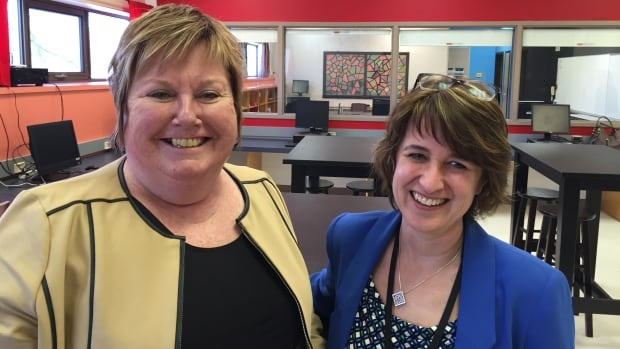 Louis Riel School Division assistant superintendent Irene Nordheim, left, and Nelson McIntyre Collegiate vice-principal Charlene Smallwood, right, are working to launch a new program at The Forks.
