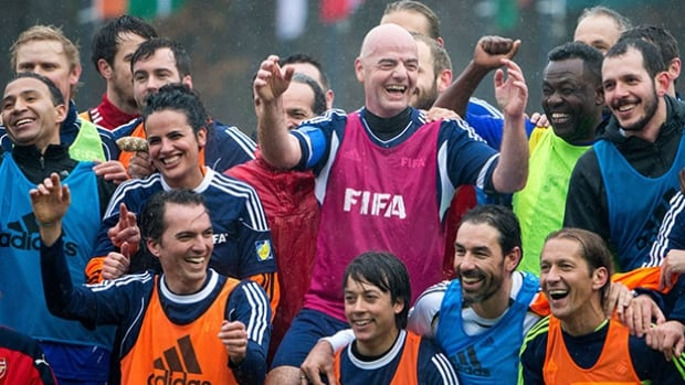 FIFA President Gianni Infantino and his teammates pose for a photo after a FIFA Team Friendly Football Match at the FIFA headquarters on February 29, 2016 in Zurich, Switzerland.