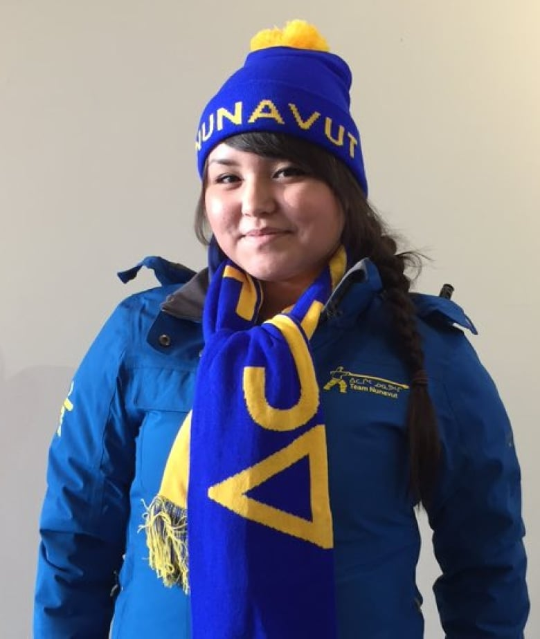 Drum dancer Tooma Laisa will wear the blue jacket and hat at the Arctic  Winter Games opening ceremonies. (Sima Sahar Zerehi CBC) Nunavut ... c87923fa5