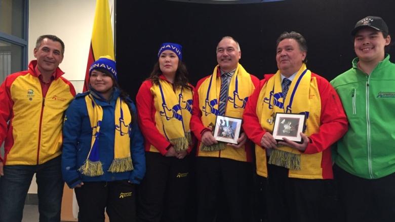 Team Nunavut s Arctic Winter Games uniform was unveiled in Iqaluit today.  (Sima Sahar Zerehi CBC) 22c410947