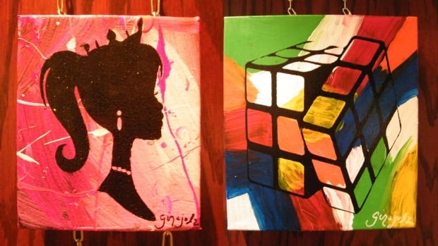These two paintings were stolen in broad daylight on Feb. 19 at Moncton's Assumption Gallery.