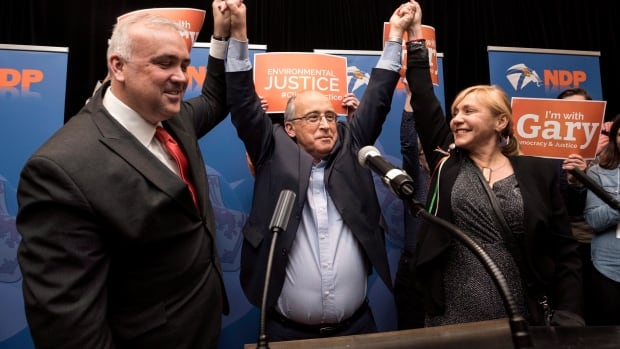 Gary Burrill, centre, the newly elected leader of the Nova Scotia New Democratic Party, celebrates with fellow nominees Dave Wilson, left, and Lenore Zann during the party convention on Feb. 27.