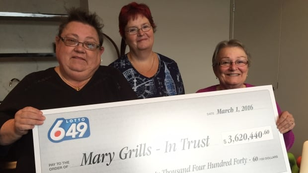(From left) Bev Allarie, Trish Little and Mary Grills are the winners of the latest Lotto 6/49 draw.