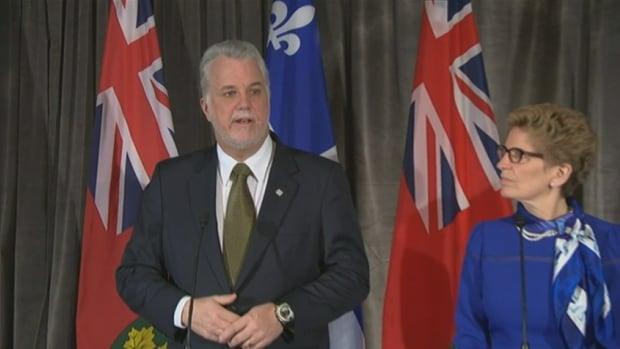 Quebec Premier Philippe Couillard joined Ontario Premier Kathleen Wynne to meet with reporters ahead of the Vancouver first ministers meeting.
