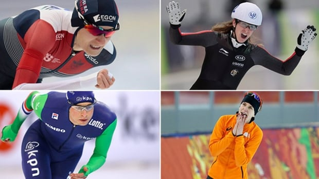 Clockwise: Speed skaters Martina Sablikova, Ivanie Blondin, Sven Kramer and Irene Wust will battle for medals at this weekend's world allround championships in Berlin.