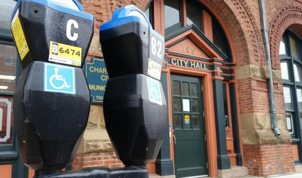 Charlottetown City Hall with disabled parking meters.