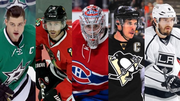 From left, Jamie Benn, Duncan Keith, Carey Price, Sidney Crosby and Drew Doughty will represent Canada at the World Cup of Hockey this year.