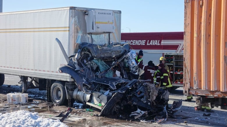 Truck driver dies in Laval accident, another injured | CBC News