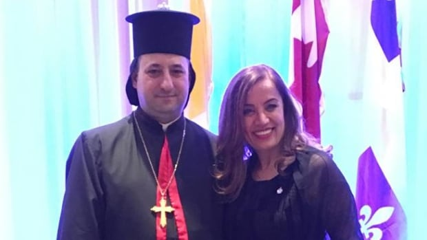 Antoine Nassif, left, a new bishop of Lebanese origin, was appointed by Pope Francis to lead Syriac Catholics in Canada. Liberal MP Eva Nassif, right, is a distant cousin of the new bishop who will be based in her riding.