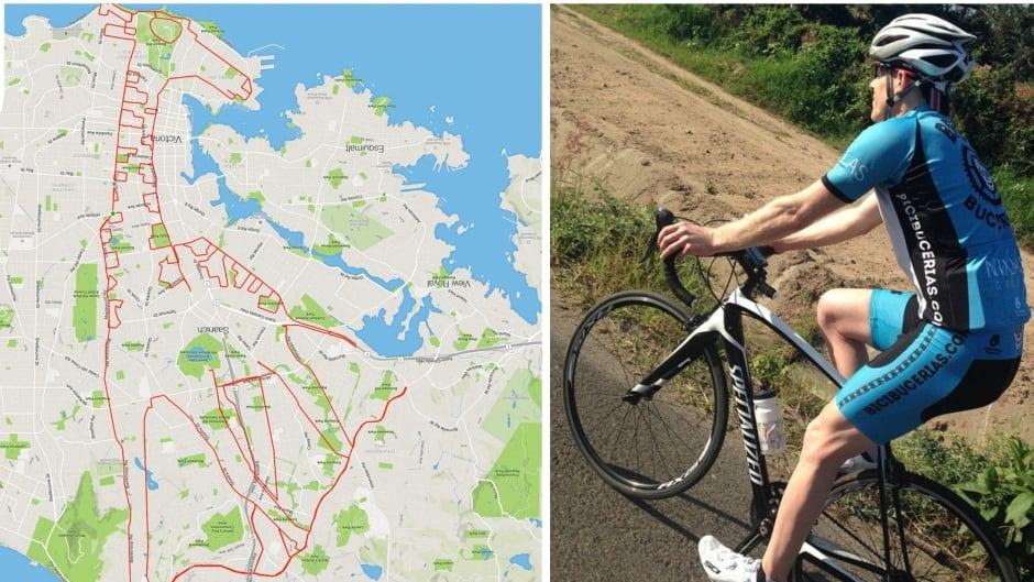 Avid cyclist Stephen Lund creates GPS artwork.