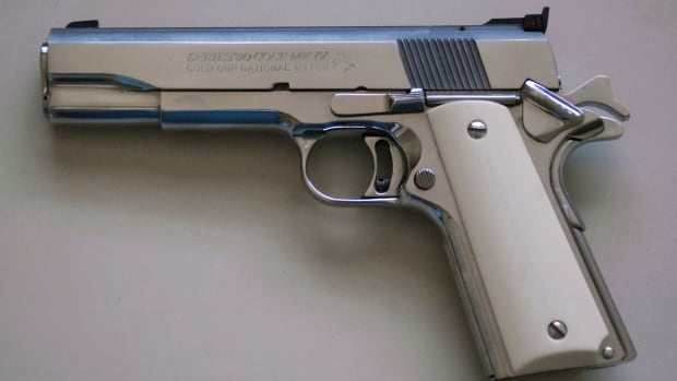 The M1911 is one of several .45 calibre handguns.
