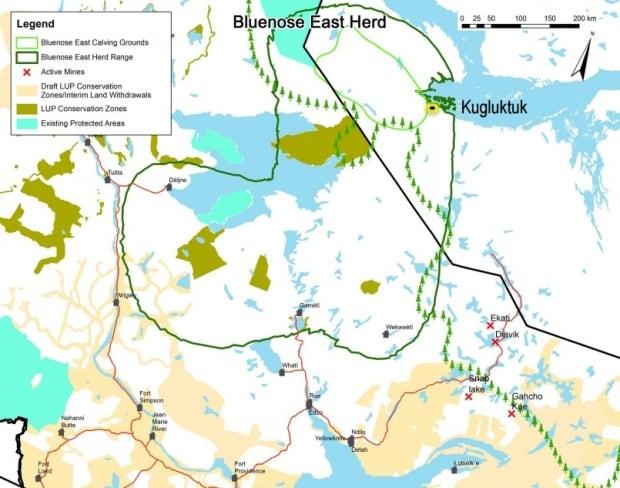 Bluenose East caribou range