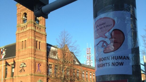 Anti-abortion posters have gone up around downtown Charlottetown.