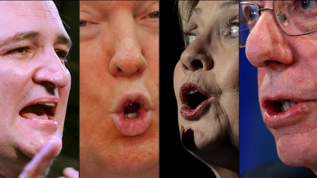 Linguists say it's common during U.S. election cycles to hear a variety of regional accents on the campaign trail, but also some 'code-switching,' in which candidates might change up their dialects or styles of speaking during one interaction. From left: Republican presidential candidates Ted Cruz and Donald Trump, and Democratic contenders Hillary Clinton and Bernie Sanders.