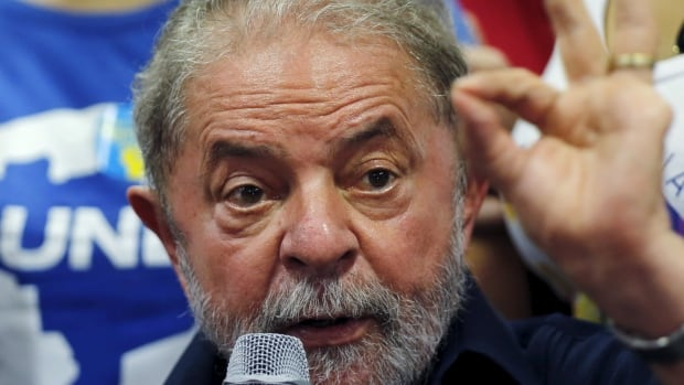 Brazil's former president Luiz Inacio Lula da Silva gives a statement to the media after being detained for questioning in a federal investigation of a bribery and money laundering scheme in Sao Paulo, Brazil on March 4, 2016.