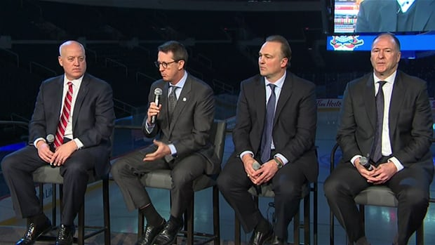 NHL deputy chief Bill Daly (left) Jets owner Mark Chipman (second from left), Hall of Famer Dale Hawerchuk (second from right) and Oilers vice-chairman Kevin Lowe at the MTS Centre Sunday as the NHL announced Winnipeg will host the 2016 Heritage Classic.