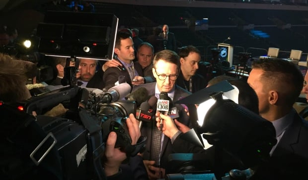 Mark Chipman speaks with reporters at Heritage Classic Announcement