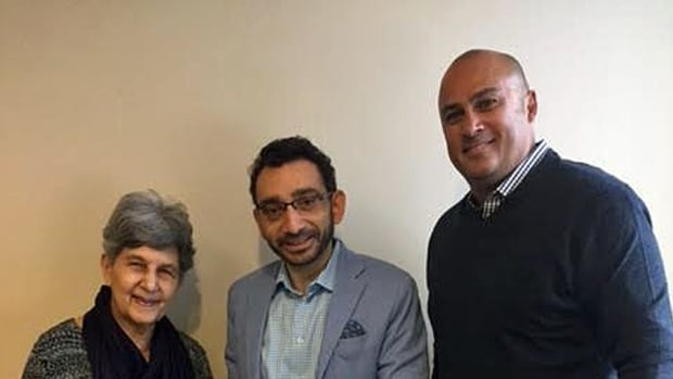 Neil Bantleman's brother Guy and his mother Corinne met with the Parliamentary Secretary for Global Affairs Omar Alghabra (centre) in Mississauga on March 4.