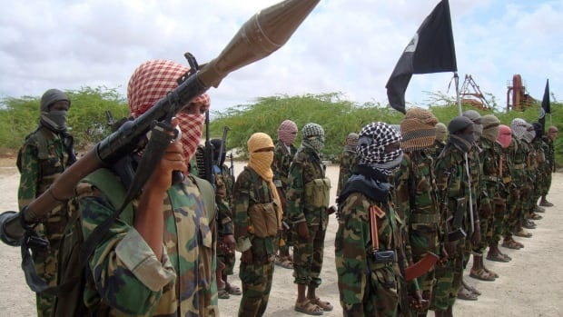 Al-Shabaab fighters display weapons as they conduct military exercises in northern Mogadishu, Somalia, in this photo from Oct. 2010. The U.S. military says at least 150 fighters from the group were killed over the weekend in a drone strike.